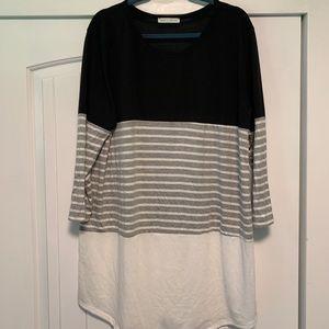 Black, white, & grey striped tunic
